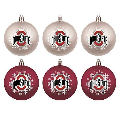Topperscot Ohio State Buckeyes Official NCAA Holiday Christmas 6 Pack Shatterproof Ornament 769257