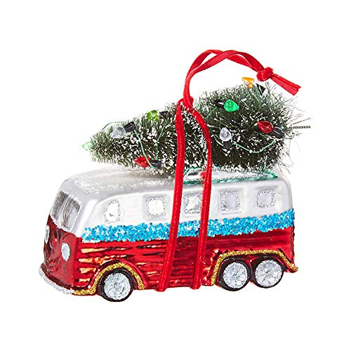 Festive Red Green Motor Home 4.5 inch Glass Decorative Christmas Ornament