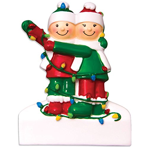 Personalized Tangled in Lights Family of 2 Christmas Tree Ornament 2019 – Cute Happy Couple Friend Snow Hat Cozy Year Gift Children Grand-Daughter Kid Together Birthday – Free Customization (Two)