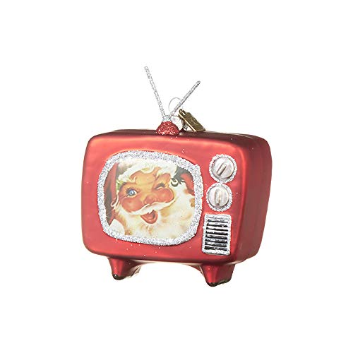Raz imports Seasonal Sparkle Red Santa Retro TV 3.5 inch Glass Decorative Christmas Ornament