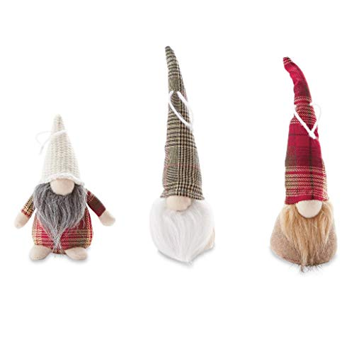 Mud Pie Rustic Lodge Tartan Plaid Gnome Christmas Ornament Set of 3
