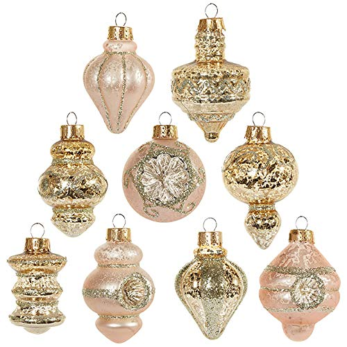 Raz Vintage Glitter Goldtone 2 inch Glass Decorative Christmas Ornament, Boxed Set of 9