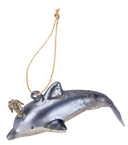 PBK Primitives by Kathy Holiday Blown Glass Ornament – Blue Dolphin