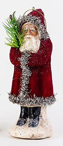 One Hundred 80 Degrees Velvet Belsnickle Christmas Ornament – 5.5 inches (Red)