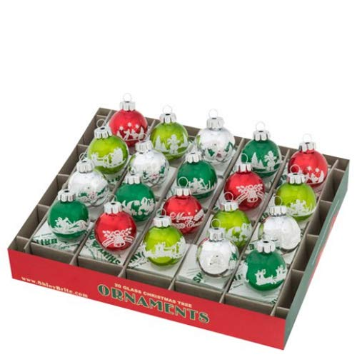 Christopher Radko Holiday Splendor 1.25″ 20c Signature Flocked Holiday Glass Tree Ornaments