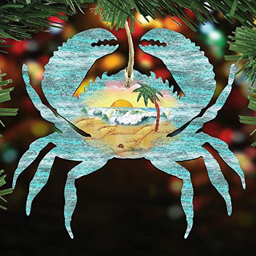 G. Debrekht Christmas Ornaments – Sea Life Wooden Christmas Tree Ornaments – Christmas Decorations for Holiday (Crab)