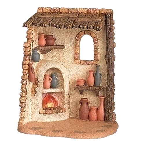 Fontanini 55607 7″ H Lighted Pottery Shed for The 5″ Scale Nativity Figurines Village Building Accessory