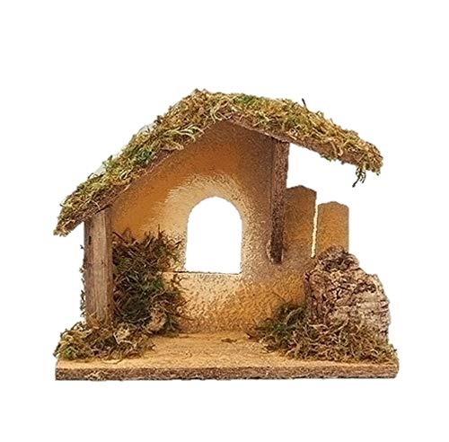 Fontanini 55086 7.5″ H Wooden Italian Stable for The 3.5″ Scale Nativity Figurines Nativity Village Collectible