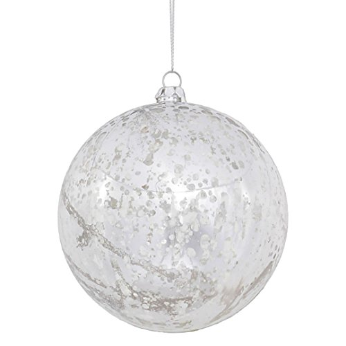 Vickerman M166307 Ball with Mercury Finish in 6 to a Bag, 100mm, Shiny Silver