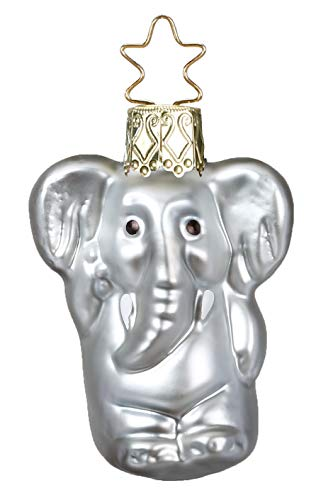 Inge-Glas Gentle Giant Mini-Elephant 10087S018 German Blown Glass Christmas Ornament