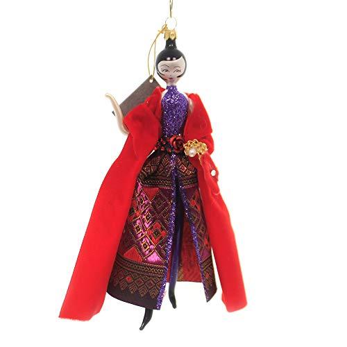 De Carlini Lady W/Purple Pants/RED Scarf Italian Christmas Ornament Do7643