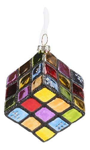 One Hundred Eighty Degrees Colorful Puzzle Cube Glass Ornament with Ribbon, 4″