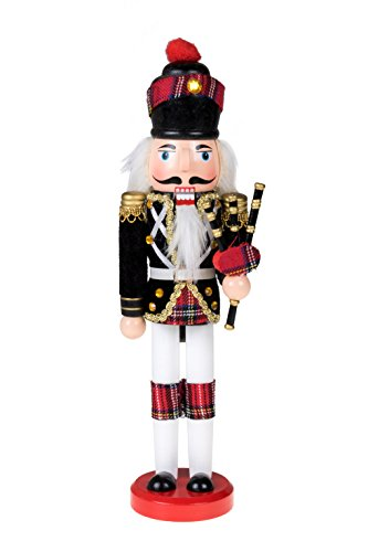 Clever Creations Scottish Soldier Nutcracker Wearing Scottish Outfit and Plaid Hat | Festive Collectable Christmas Decor | Perfect for Shelves and Tables | 100% Wood | 12″ Tall with Bagpipes