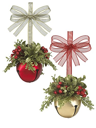 Kissing Krystals Mistletoe Sleigh Bells Classic Red – Gold and Red, Set of 2
