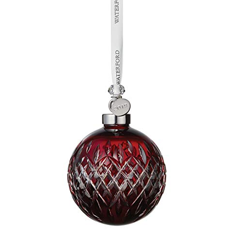 Waterford Crystal Ruby Ball Ornament 3.2″