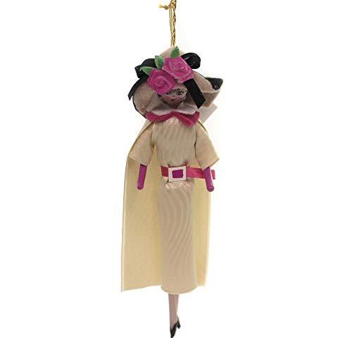 De Carlini Lady Cream Dress W/Pink Roses Christmas Italian Ornament Do7313m