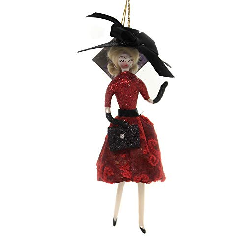 De Carlini Lady RED Skirt Black HAT Glass Italian Christmas Ornament Do7646
