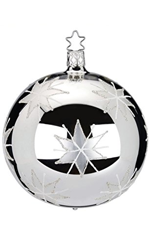 Inge-Glas Kugel Ball 10 cm Starlight Silver 20160T010 German Christmas Ornament