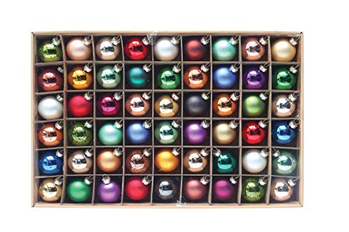 Creative Co-op Multicolor Round Glass (Boxed Set of 54 Pieces) Ornament