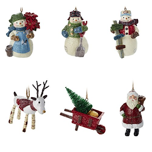 Hallmark Christmas Ornaments Rustic Snowman, Santa and Reindeer Holiday Decorations, Set of 6, Gary Head