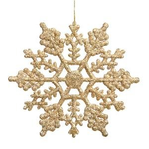 Vickerman Plastic Glitter Snowflake, 6.25-Inch, Antique Gold, 12 Per Box