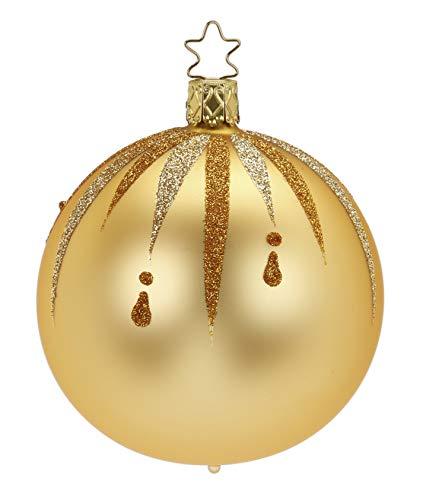 Inge-Glas Gold Kugel Ball Fancy 20222T008 German Glass Christmas Ornament