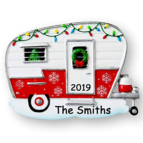 Polar X Personalized Red and White RV Camper with Festive Christmas Decorations Tree Ornament with Custom Name and Date