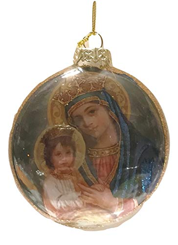 One Hundred Eighty Degrees Madonna & Child Glass Medallion Holiday Ornament, 3″