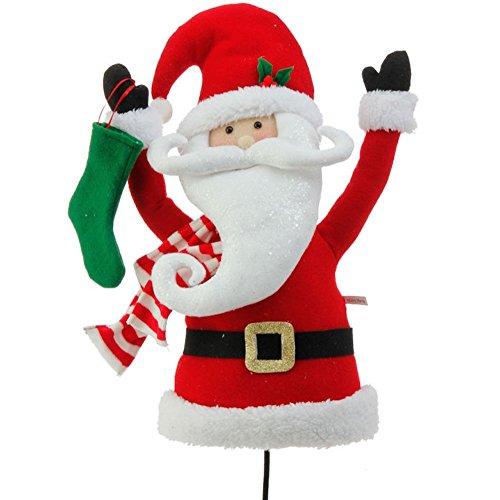 Raz Plush Santa Claus Head and Torso Pick Accent Christmas Tree Ornament Decor, 17 Inch x 10 inch x 5.5 inch on Bendable STick