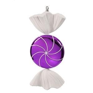 Vickerman 185″ Purple and White Swirl Candy Christmas Ornament