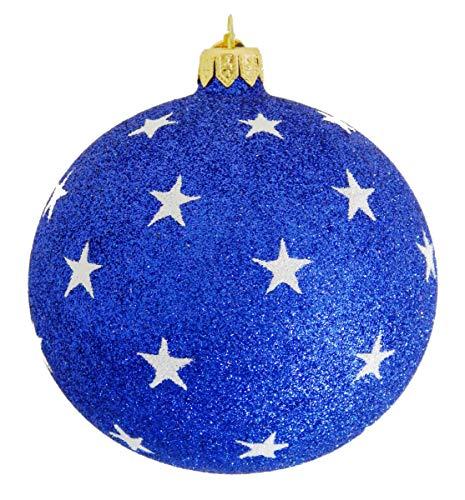 Landmark Creations' Blue Glittered Ball with White Glittered Stars European Glass Christmas Ornament
