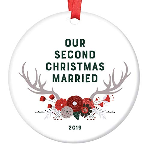 Second Christmas Married Ornament 2019 Collectible Keepsake 2nd Anniversary Year Mr & Mrs Husband Wife Gift Woodland Boho Floral Antlers Farmhouse Tree Decoration Ceramic 3″ Flat Circle Red Ribbon