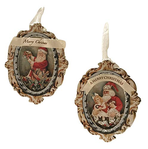 One Hundred 80 Degrees Paper Old World Santa Medallion Duo Ornament Assorted, 2 Pcs
