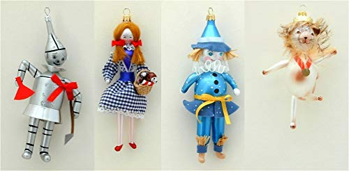 De Carlini – Wizard of Oz – Set of Four Ornaments – Italian Glass Christmas Tree Ornament