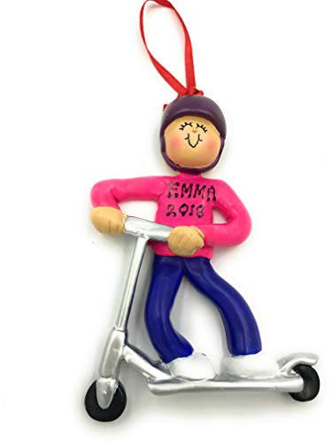 rudolp and me Personalized Girl Kid Riding Scooter Christmas Ornament 2019