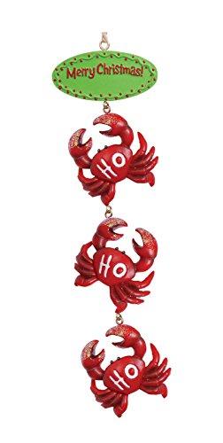 Cape Shore Merry Christmas Ho Ho Ho Three Red Crabs Coastal Holiday Ornament
