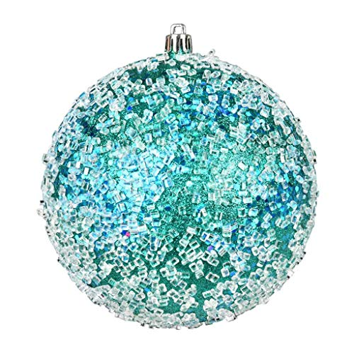 Vickerman 600115-6″ Teal Glitter Hail Ball Christmas Tree Ornament (4 pack) (N190342D)
