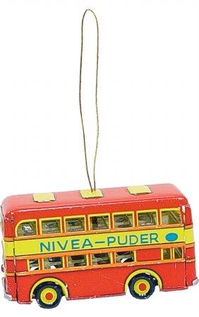 Alexander Taron AT4 Collectible Tin Ornament – Doubledecker Bus – 1.5″ H x 2″ W x 3″ D Red