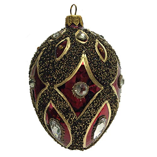 Pinnacle Peak Trading Company Burgundy Gold Black Jeweled Faberge Inspired Egg Polish Glass Christmas Ornament