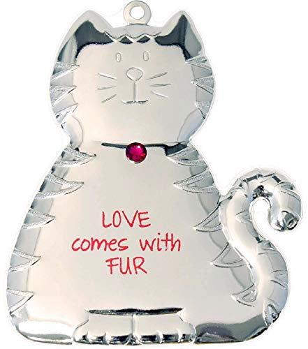 Gloria Duchin 'Love Comes with Fur' Christmas Cat Ornament 3″ Made in USA – Cat Lover Ornament Christmas Holiday