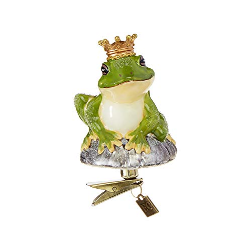 Raz Forest Green Frog Prince Clip-On 3.5 inch Glass Decorative Christmas Ornament