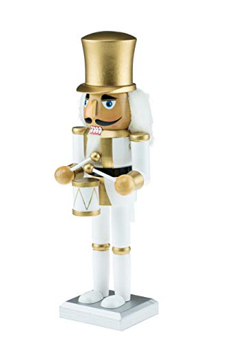 Clever Creations Wooden White and Gold Drummer Nutcracker | Festive White and Gold Drummer Military Outfit | Extraordinary Traditional Christmas Decor | Stands 10″ Perfect for Shelves and Tables