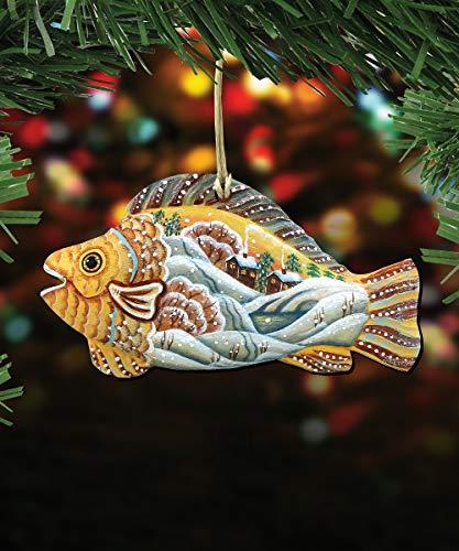 G. Debrekht Christmas Ornaments – Sea Life Wooden Christmas Tree Ornaments – Christmas Decorations for Holiday (Native Fish)