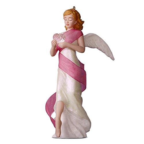 Hallmark Keepsake Christmas Ornament 2018 Year Dated, Breast Cancer Awareness, Angel of Courage Supporting Susan G. Komen, Porcelain