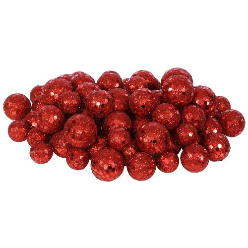 72ct Red Sequin and Glitter Christmas Ball Decorations 0.8″ – 1.25″