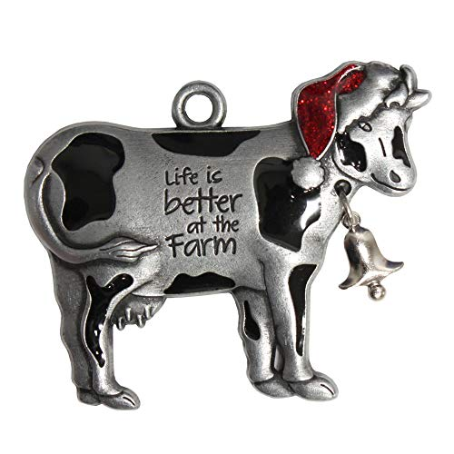 A&T Designs Life is Better at The Farm – Cow Pewter Christmas Ornament by Gloria Duchin