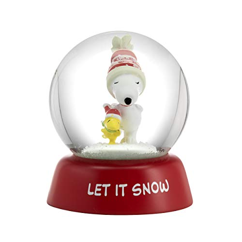Hallmark 6MJC3050 Holiday Peanuts Snowglobe, Red, White, Green, Clear