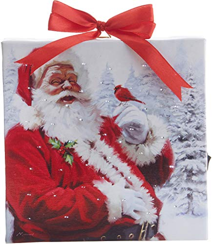 RAZ Imports Santa Lighted Print Ornament – 6 by 6 inch