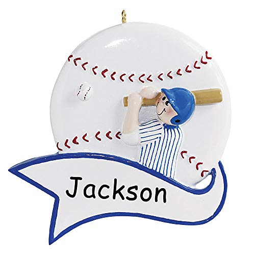 Rudolph and Me Personalized Baseball Player Sports Ball with Banner Christmas Ornament Holiday Tree Decoration with Custom Name