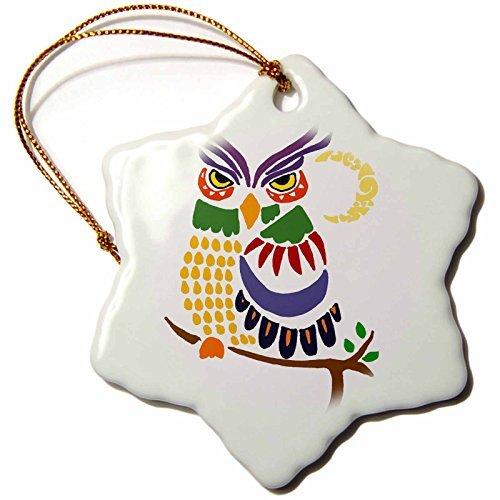 All Smiles Art Birds – Fun Artistic Colorful Owl Bird Abstract Art – 3 inch Snowflake Porcelain Ornament (243536_1)